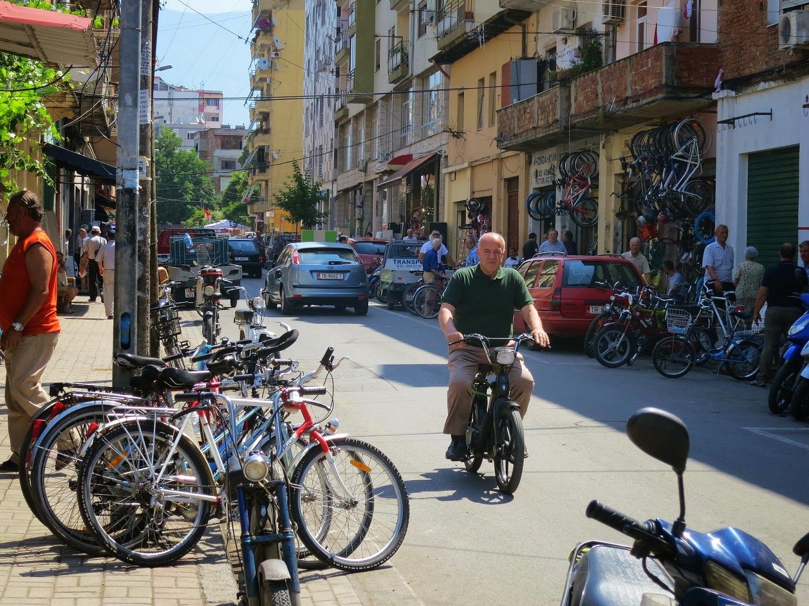 "Bikes galore at the ""Bike Bazaar"" in central Tirana"